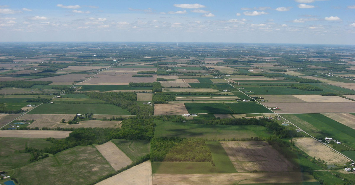 An aerial view of farms in Ohio