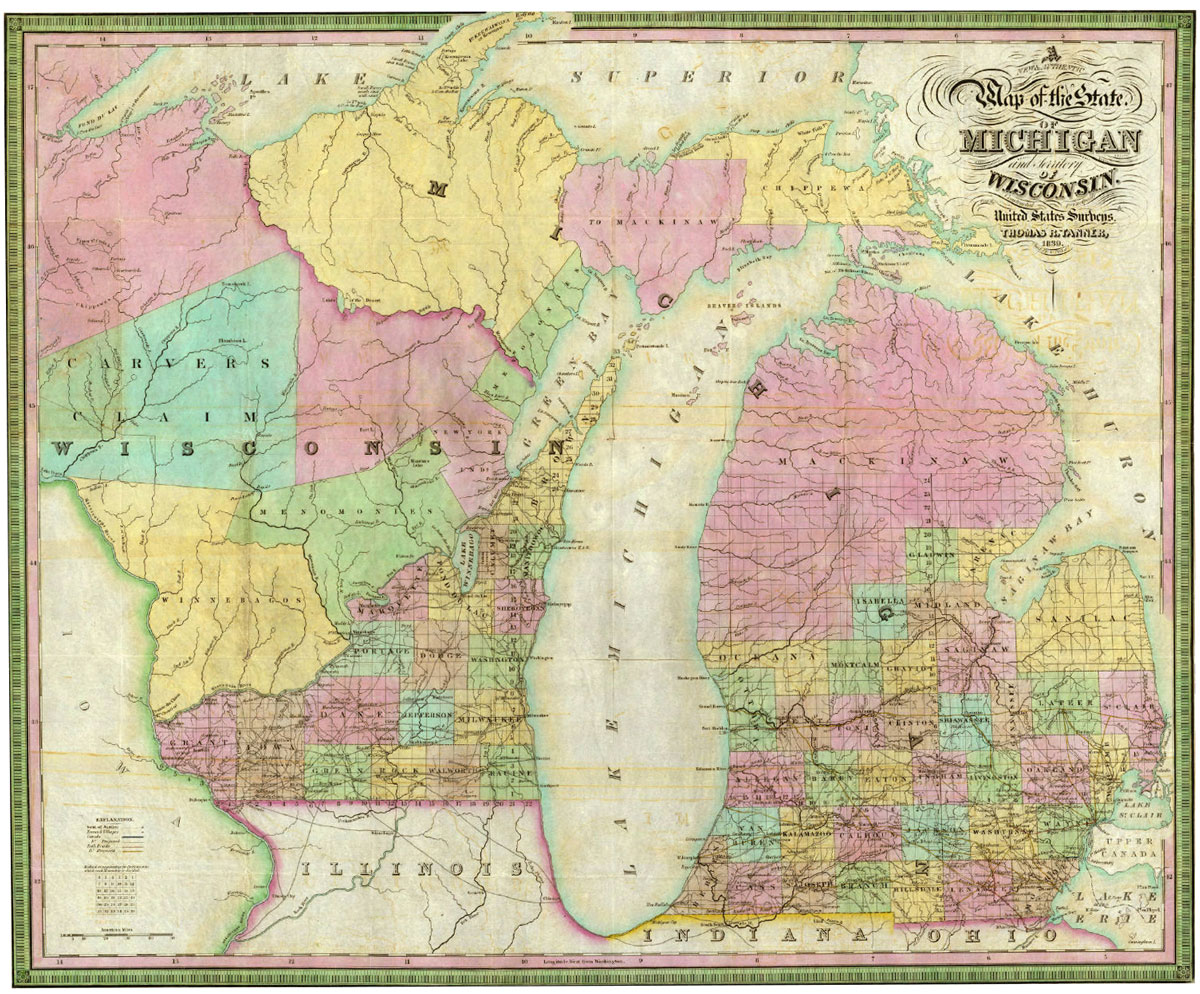 A map of Michigan and Wisconsin from 1839