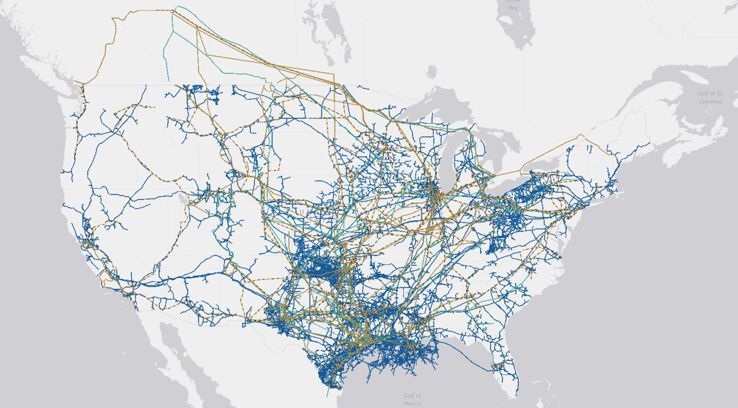 map of U.S with pipelines drawn